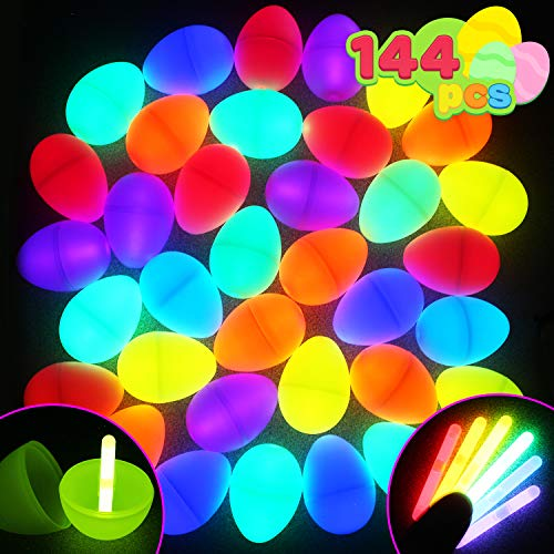 144 Easter Glow Eggs with 288 Mini Glow Sticks for Kids Glow-in-The-Dark Easter Basket Stuffers Fillers Gift, Easter Eggs Hunt Game Party Favors Classroom Decorations Supplies.