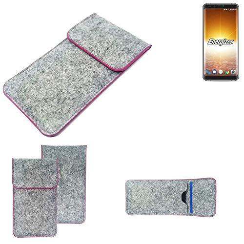 K-S-Trade Handy Schutz Hülle Für Energizer P600S Schutzhülle Handyhülle Filztasche Pouch Tasche Hülle Sleeve Filzhülle Hellgrau Pinker Rand