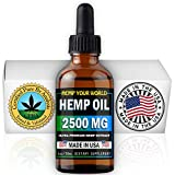HEMP YOUR WORLD Hemp Oil Drops - Made in USA - 100% Organic Hemp Oil Extract for Pain Relief Anti-Inflammatory Joint Support Sleep Aid Supplements - NO THC (2500)