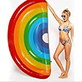 m·kvfa Giant Inflatable Rainbow Pool Float Swimming Raft Swim Ring Party Water Toys for Kids & Adults