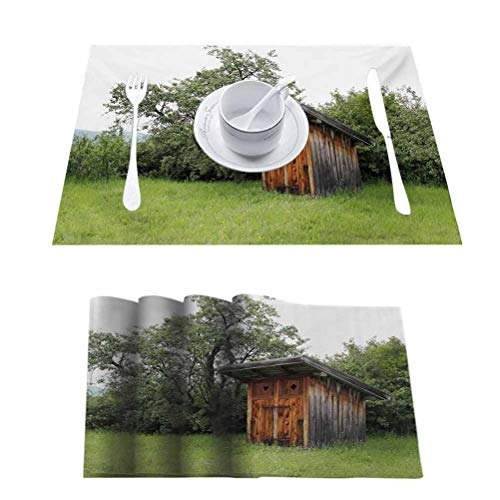 Non Slip Heat Resistant Table Mats Placemat, Outhouse Wooden Little Hut Barn Shed Cottage in, Non-Slip Absorbent Table Mats Placemats, Set of 8