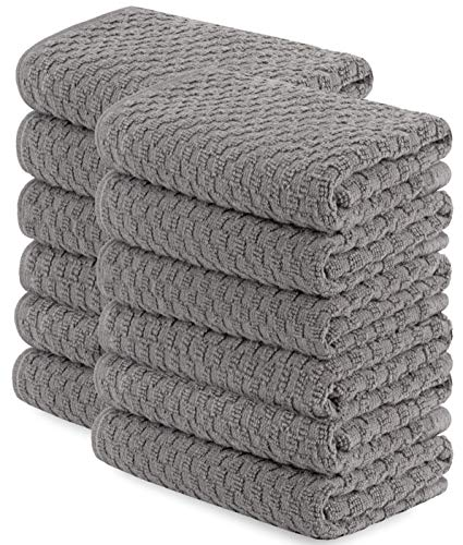 [12 Pack] Kitchen Dish Hand Towels, 100% Cotton Dobby Weave, 410GSM Absorbent Terry Cleaning Cloth, 15x26, Grey