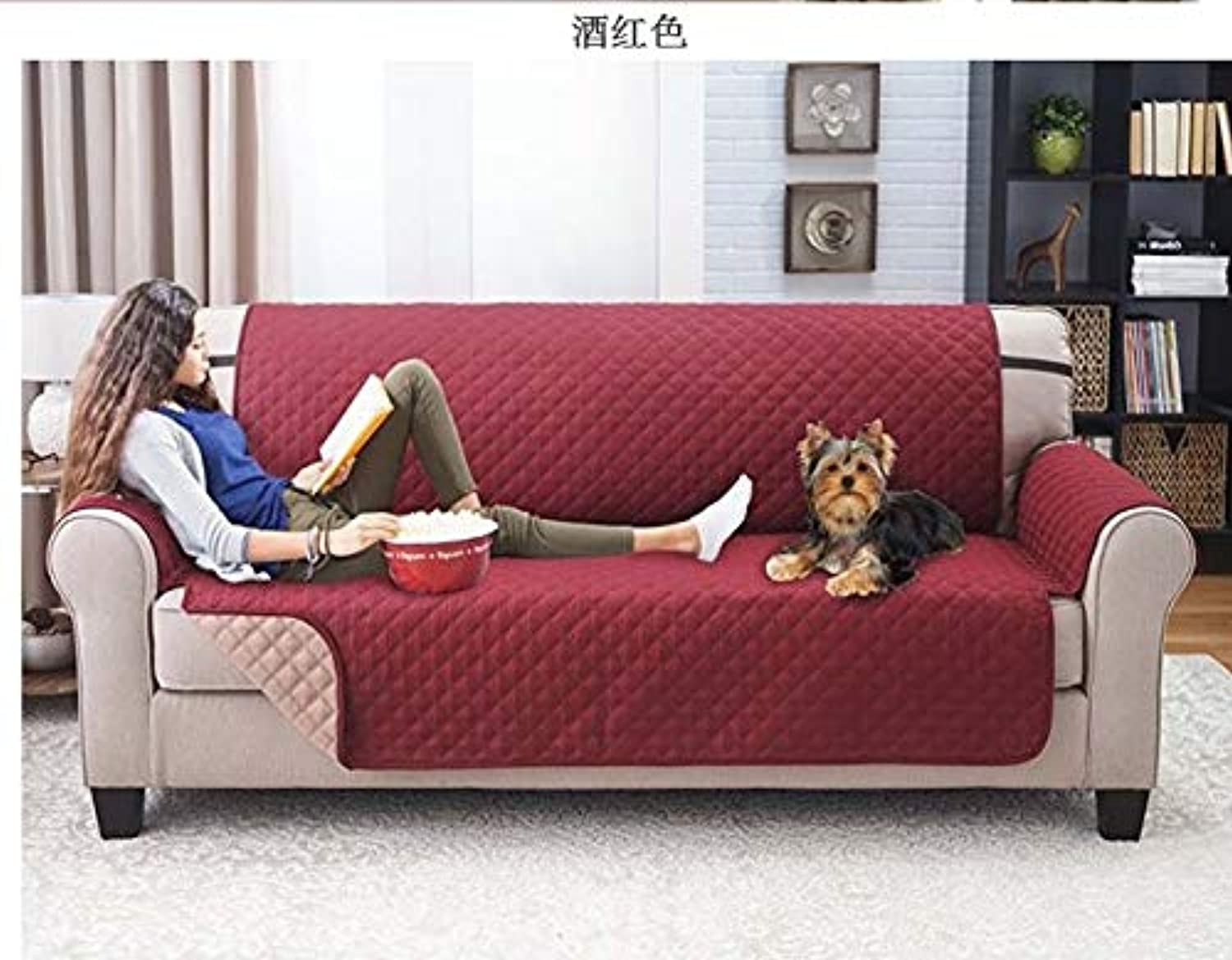 Solid color Sofa Cover Washable Removable Towel Armrest Couch Covers Slipcovers Couch Dog Pets Single Two Three Seater   Burgundy, Double Seat