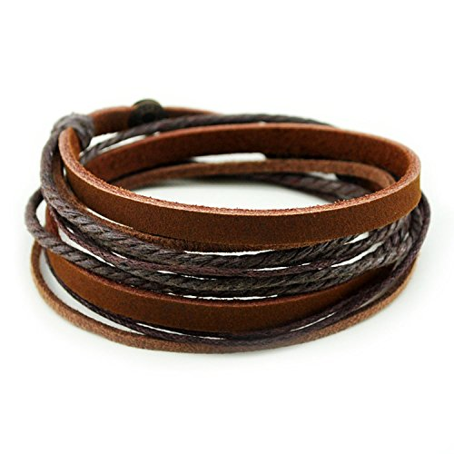 Armband Echtes Leder Doppe Wlickelarmband Handcraft Armreif mit Baumwolle Seil - Kaffee