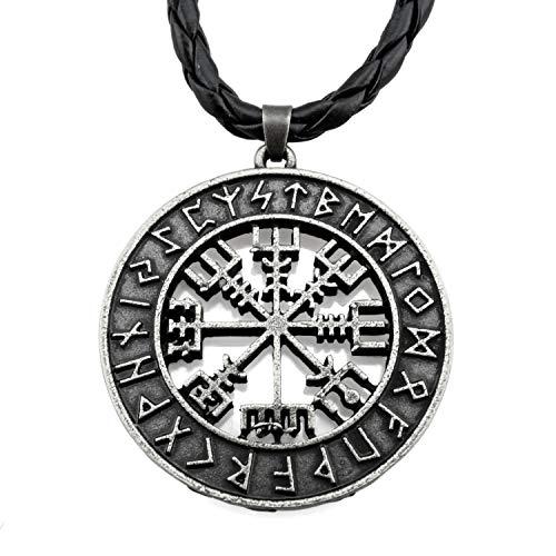 URBANTIMBER Wikinger Halskette Vegvisir im Runenkreis - Silber oder Gold