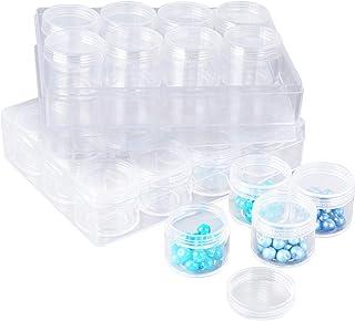 BUONDAC 2pcs Cajas Almacenamiento con 24 Botes de Plástico Transparente Organizador para Piezas Pequeñas Pintura Bordado de Diamantes Abalorios Cuentas Granos Accesorios Arte de Uñas Joyería