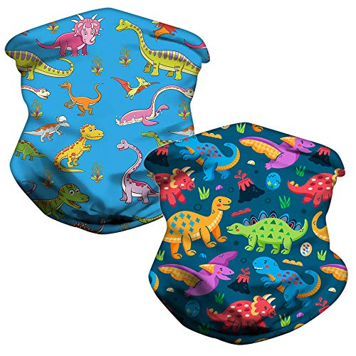 LOZACHE 2pcs Multifunction Childrens Face Mask Cooling Half Face Cover Breathable Neck Gaiters Washable Reusable Face Scraf for Boys Girls Kids (Dinosaur 02)