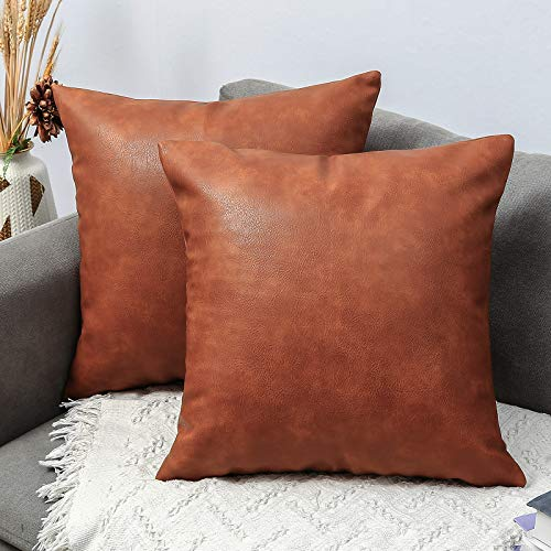 RutherCraft Pack of 2 Thick Hight Quality Leather Throw Pillow Covers,Square Modern Decorative Throw Pillow Case for Farmhouse Sofa Couch Bed Car,16x16 Brown