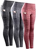 Neleus Tummy Control High Waist Workout Running Leggings for Women,9033,Yoga Pant 3 Pack,Black,Grey,Red,L,EU XL