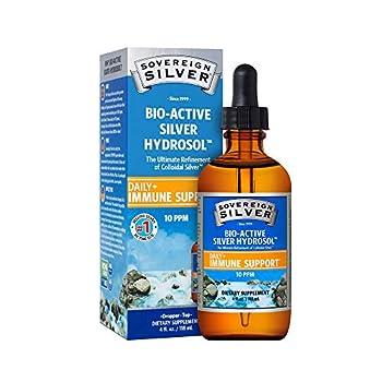 Sovereign Silver Bio-Active Silver Hydrosol for Immune Support - Colloidal Silver - 10 ppm 4oz  118mL  - Dropper