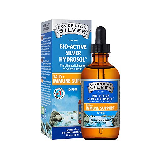 Sovereign Silver Bio-Active Silver Hydrosol for Immune Support - 10 ppm, 4oz (118mL) - Dropper