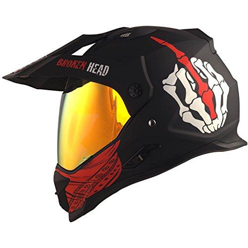 Broken Head Street Rebel rot Cross-Helm Set mit Rot verspiegeltem Visier | Enduro-Helm - MX Motocross Helm mit Sonnenblende - Quad-Helm (M 57-58 cm)