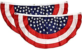 """Gift Boutique Patriotic Bunting Banner 2 Pack American Flag Stars and Stripes USA July 4 Red White & Blue 48"""" x 24"""" Pleated with Grommets for Memorial Day and Independence Day Outdoor Decorations"""