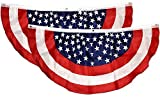 Gift Boutique Patriotic Bunting Banner 2 Pack American Flag Stars and Stripes USA July 4 Red White & Blue 48' x 24' Pleated with Grommets for Memorial Day and Independence Day Outdoor Decorations