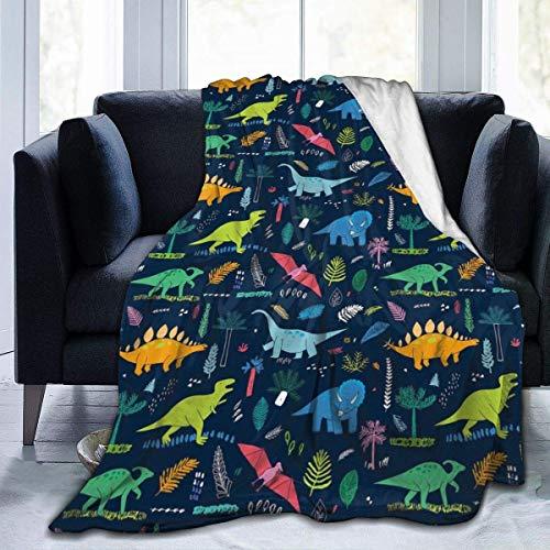 Cozy Soft Flannel Fleece Throw Blanket for Couch Bed Sofa 3D Dinosaur 127cm*102cm