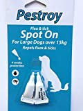 HAADI <span class='highlight'>Pestroy</span> Flea And Tick Spot On Natural Flea Treatment Protection Against Bugs Fleas Ticks And Insects For Large Dogs Over 15 Kg X2 Tubes Repels Flees Tics