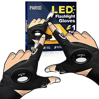 LED Flashlight Gloves Gifts for Men Women Stretchy Fingerless Gloves for Large Hands Unique LED Light Gloves Gadget Cool Stuff Gift Idea for Husband Boyfriend Guy Him Mechanic  Black