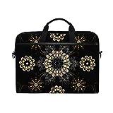 HUAYEXI Bolsa para portátil de 15-15,4 Pulgadas,Elementos Florales Ornamentales Tatuaje Henna Dorado,Bolso Hombro-Ordenador-Portátil