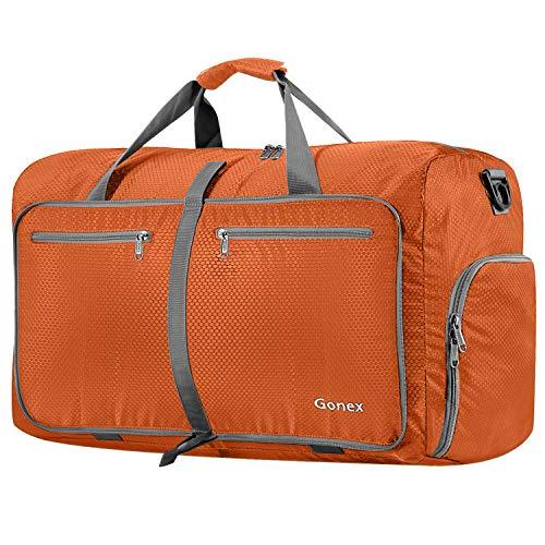 Gonex 80L Foldable Sport Duffels Travel Bag Large Sport Holdall Bag Packable Gym Bag Lightweight Waterproof Luggage Orange