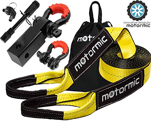 motormic Tow Strap Recovery Kit – 3' x 30ft (30,000 lbs.) Rope + 2' Shackle Hitch Receiver + 5/8'...