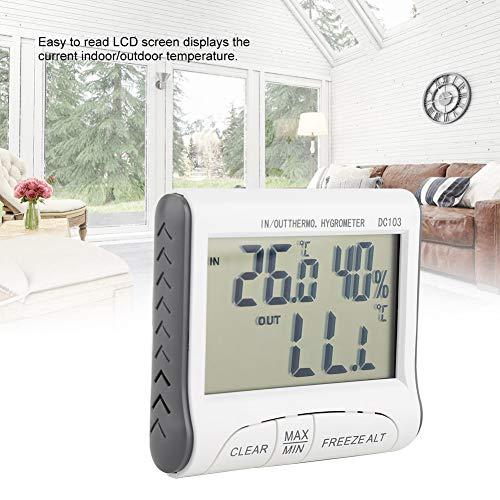 Digitale thermometer, digitale vriezerthermometer binnen- / buitentemperatuursensor met akoestisch alarm