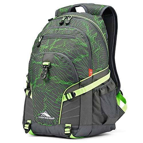 High Sierra Loop-Backpack, School, Travel, or Work Bookbag with tablet-sleeve, Light Wave/Mercury/Lime, One Size