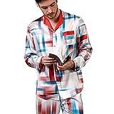 Pijamas Hombre 100% Seda De Morera Manga Larga Conjunto De Pijama para Hombre Pantalones Largo Ropa De Casa 2 Piezas Otoño E Invierno L,XL,XXL,Rojo,XL