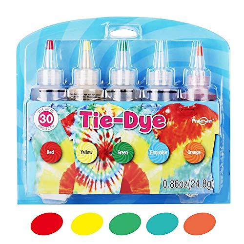5 kleuren Tie-Dye-Kit - DIY Fashion Dye-Kit Tie-Dye-Kit Katoen Linnen Kledingstoffen voor thuis rood, geel, groen, turquoise, oranje.