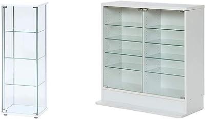不二貿易 コレクションケース フィギュアケース 4段 高さ120cm ホワイト 全面ガラス ロータイプ 97341 & コレクションケース フィギュアケース 浅型 5段 高さ90cm ホワイト ロータイプ 96072【セット買い】