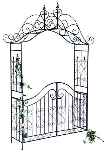 DanDiBo rozenboog met poort Pforte 131872 van metaal tuinpoort 282x160 cm klimhulp Pergola Spalier rozenhulp rangschikking