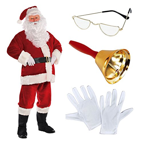 amscan Deluxe Regal Plush Men's Santa Claus Father Christmas Suit Fancy Dress Costume Includes Santa's Half Moon Spectacle Glasses White Professional Gloves & Ringing Bell