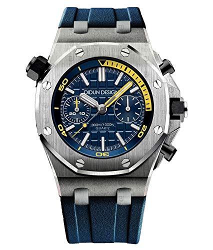 Sportliche Herren Armbanduhr, Saphirglas, Japan Quarzwerk, Didun Royal One Sport Silber/Blau