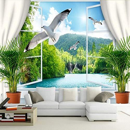 3D behang 3D muurschildering 3D stereo kamer behang achtergrond romantische zee stier muurschildering vals raam behang muurschildering 400*280 400*280