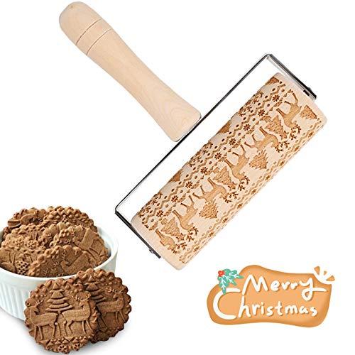 LIHAO Rodillo de Madera Cocina Repostería con Patrones Grabados de Alces Árbol de Navidad para Pasta Fondant Tarta Pizza Masa Decoración