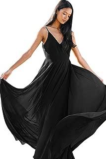 Zhongde Women's Spaghetti Strap V-Neck Open Back Bridesmaid Dress Long Formal Evening Gown