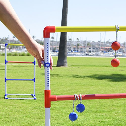 GoSports Premium Ladder Toss Outdoor Game Set with 6 Bolo Balls, Travel Carrying Case and Score Trackers