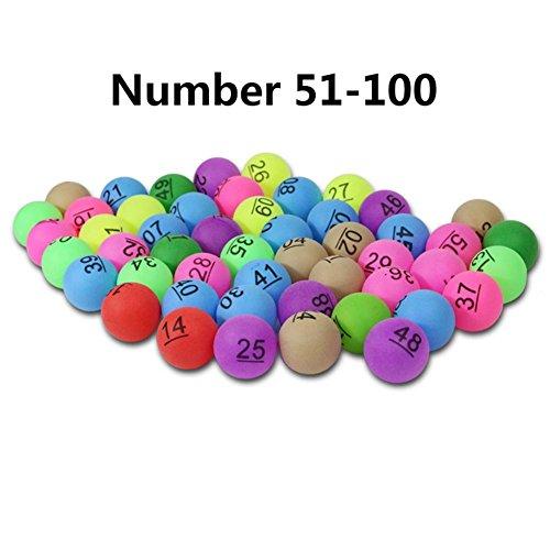 Seasaleshop Ping Pong Balls 100pcs 40mm Pelotas de Entretenimiento Colores con número para la Publicidad de Juegos de lotería