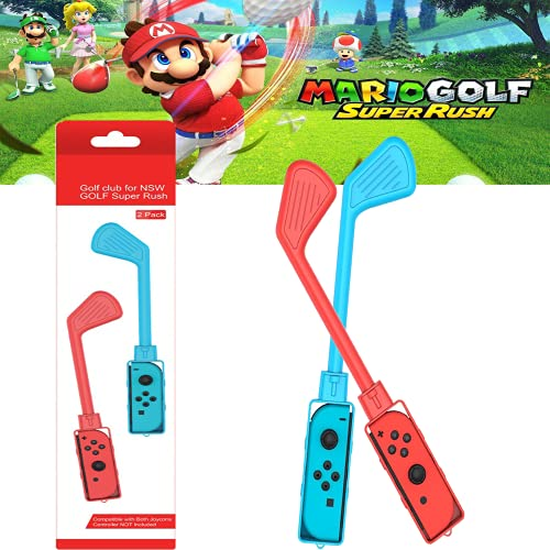 2PCS Golf Games Accessories Controller Grip for Mario Golf Super Rush Red and Blue 2PCS Golf Clubs Compatible with Mario Golf: Super Rush - Nintendo Switch , For Switch Joy-Con