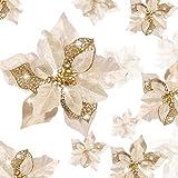 WILLBOND 36 Pezzi Fiori di Natale Poinsettia Glitter Fiori Artificiali Matrimonio Ornamenti di Albero di Natale Glitter di Capodanno(Oro, Stile Vuoto a Doppio Strato)