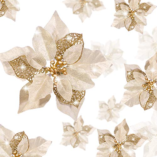 Boao 24 Pieces Christmas Glitter Poinsettia Flowers Artificial Xmas Flowers Wedding Christmas Tree New Year Ornaments (Gold)