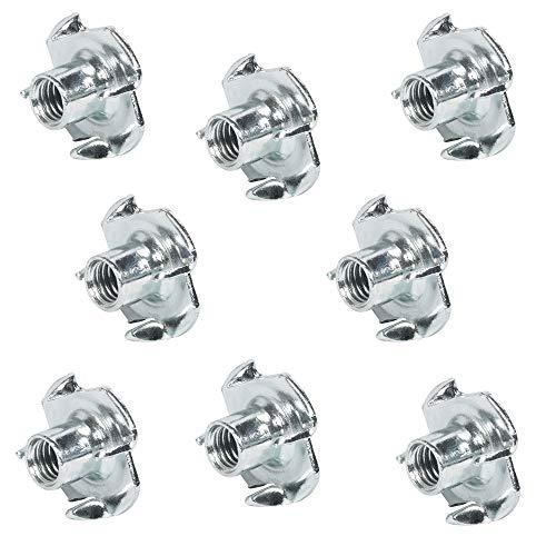 Gedotec Einschraubmuffen Holz & Möbel-Bau Einschraubmutter mit 4 Einschlagspitzen | Innen-Gewinde M4 x 7 mm | Einschlag-Gewinde Muffen aus Stahl verzinkt | 100 Stück - Gewindeeinsatz mit Spitzen