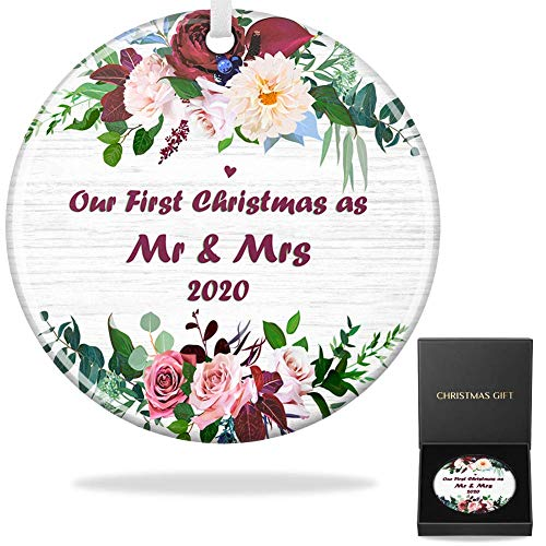 First Christmas Married Ornament 2020, Fancymay First Christmas as Mr & Mrs Ornament, 3' Flat Circle Porcelain Ceramic Ornament, Silver Ribbon & Gift Box