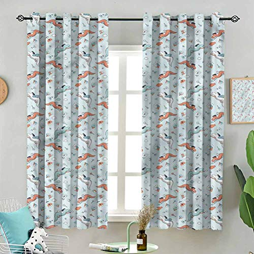 Modern Window Curtain Pastel Sketch of Baby Dragon W72 x L45 Inch (2 Panels) Indoor for Living Room