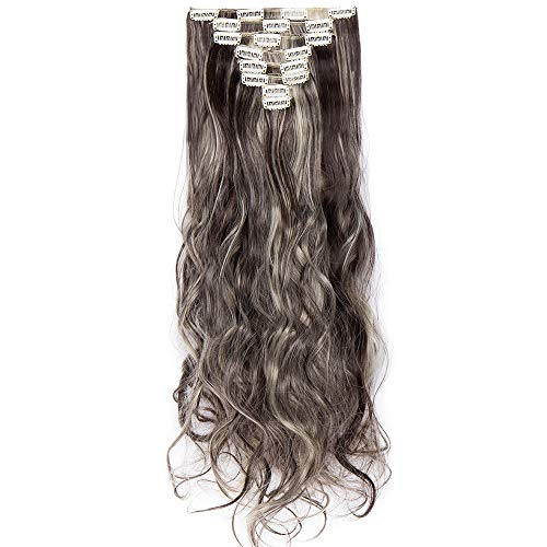 Clips Cheveux Extension Curly [ 8 Pièces 18 Clips ] On Dirait de Vrai Cheveux [60CM][Marron Foncé Mèche Blond Blanchi]