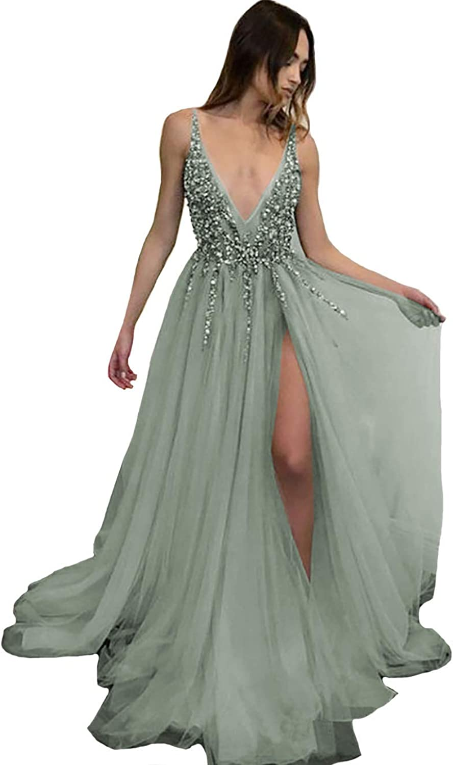 IVYPRECIOUS Sexy Deep V Neck A Line Side Split Shiny Beaded Long Prom Dresses and Gowns