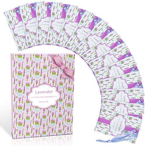 SCENTORINI Bolsitas perfumadas de lavanda premium bolsas perfumadas para ropa, regalos para el día de San Valentín, para cajones, armarios, habitaciones, baños, coches (14 bolsas)
