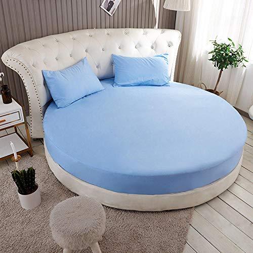 HPPSLT Protector de colchón Acolchado - Microfibra - Transpirable Colchón de Cama Redondo de una Sola Pieza Full Circle-Sky Blue_2m