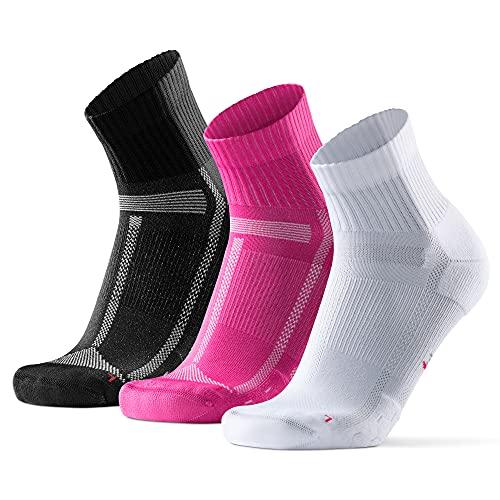 DANISH ENDURANCE Calcetines de Running para Largas Distancias, para Hombre y Mujer Pack de 3 (Multicolor (1x Blanco, 1x Negro, 1x Rosa), 43-47)