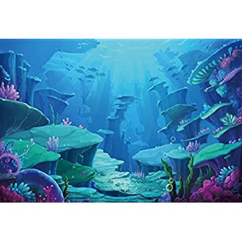 Leowefowa Vinyl 15x8ft Aquarium Backdrop Underwater World Backgrouds for Photography Colorful Tropical Fishes Seaweeds Under The Sea Themed Summer Party Banner Hawaiian Luau Photobooth