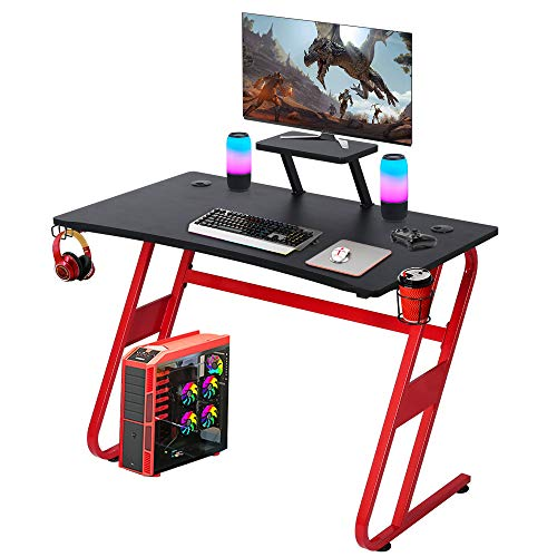 "YILI 42"" Gaming Computer Desk, Z Shape Home Office Desk, Gamer Workstation with Large Black Surface, PC E-Sports Racing Table with Cup Holder & Headphone Hook & Monitor Stand (red)"